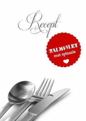 Stijlvolle receptenkaart voor zalm. De tekst is nep dus je kunt je eigen recept invullen en zo je hele eigen receptenkaart maken en versturen! Te vinden op: https://www.kaartje2go.nl/menukaarten/recept-zalmfilet-isf