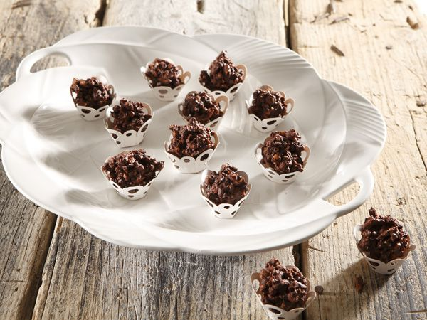Nut and pretzel chocolate clusters