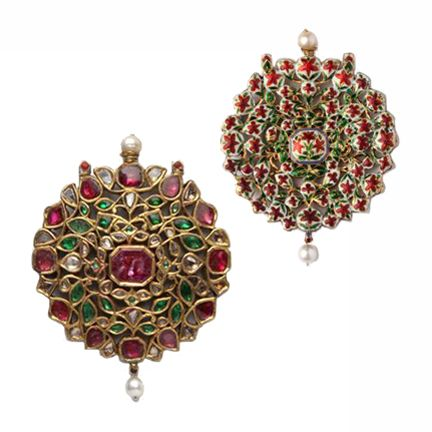 A Ruby, Emerald and Diamond Pendant North India Jaipur 19th Century