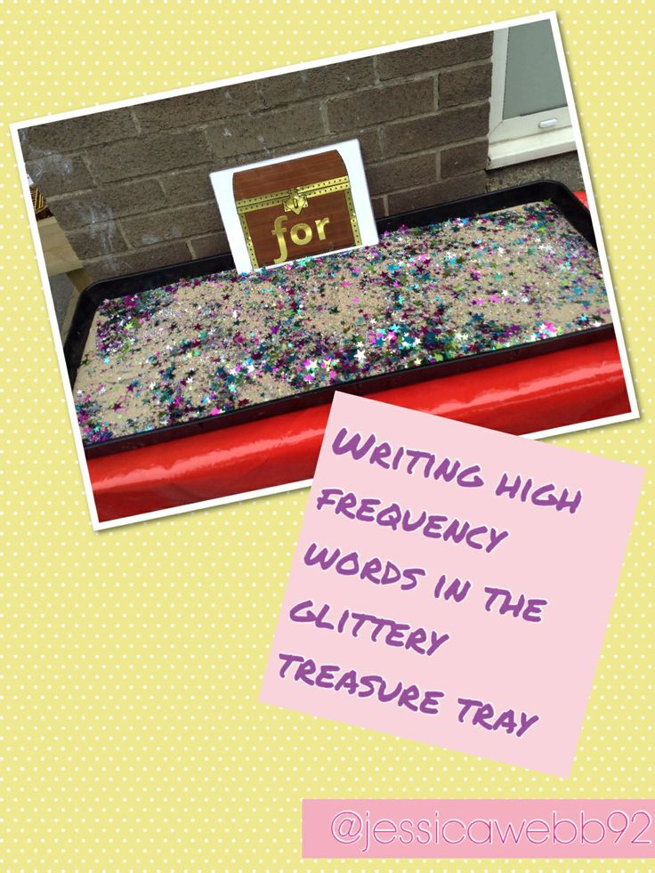 Sparkly treasure tray to encourage writing. EYFS