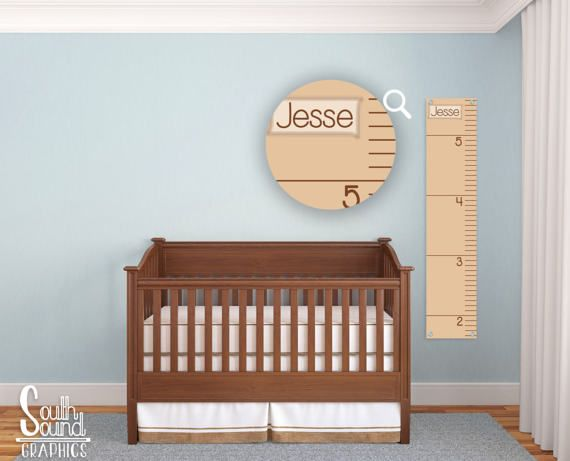 Growth Chart for Boys - Kids Room Wall Decor - Tan Ruler Custom Wall Hanging - Children's Personalized Growth Chart Ruler - Kids Bedroom