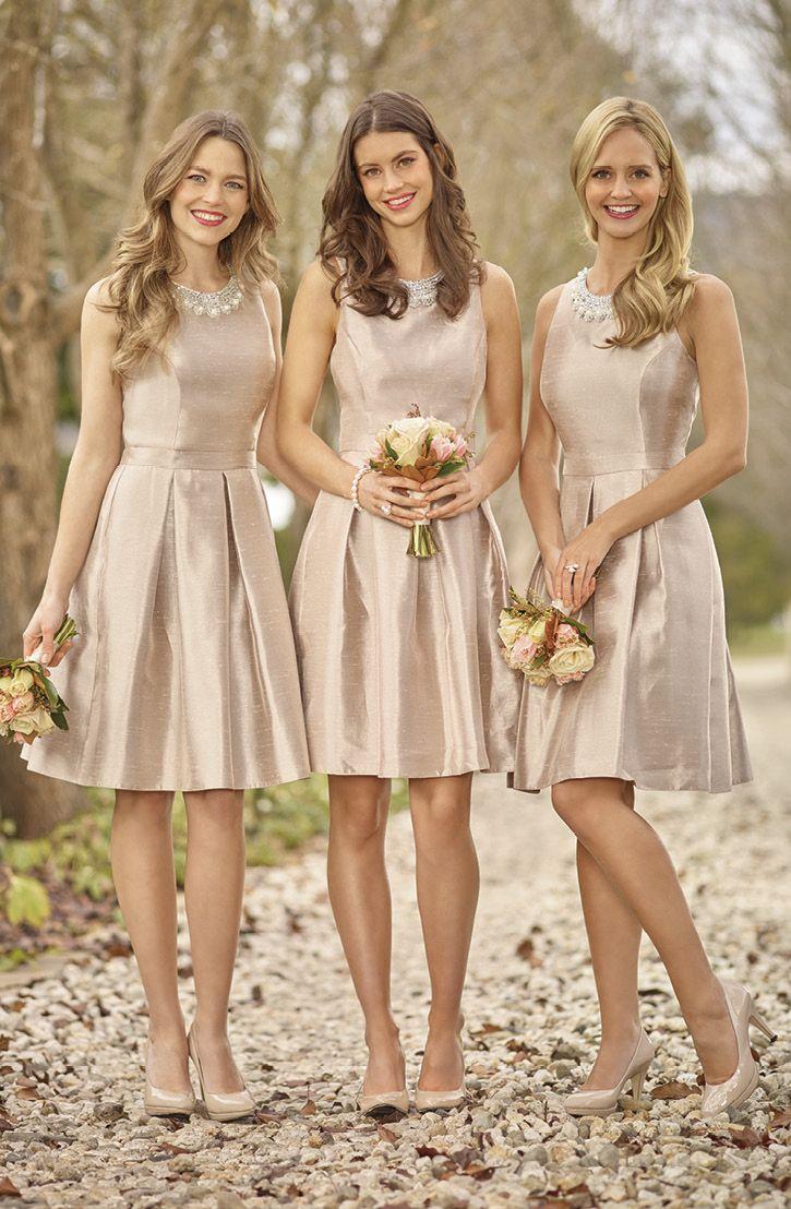 Sizes: 6-26 Short bridesmaid dress in gorgeous Desert Shot Shantung. Features…
