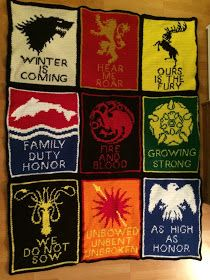 I promised more pictures and information about my Game of Thrones blanket, so here it is! I've included pattern charts for the fir...