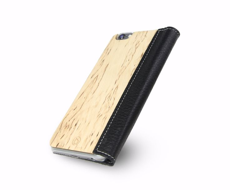 Lastu Case for iPhone 5/5s - Lompakko suojakuori - LastuCase for iPhone 6 Black Moose Leather with Curly Birch