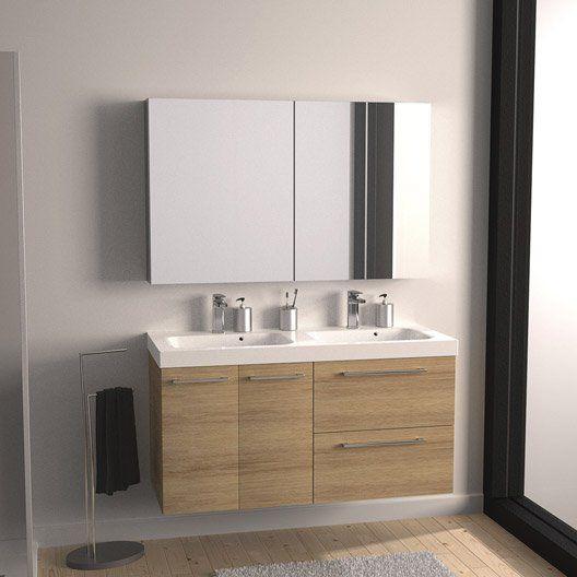 Meuble de salle de bains Remix imitation chêne 121x48.5 cm, 2 tiroirs