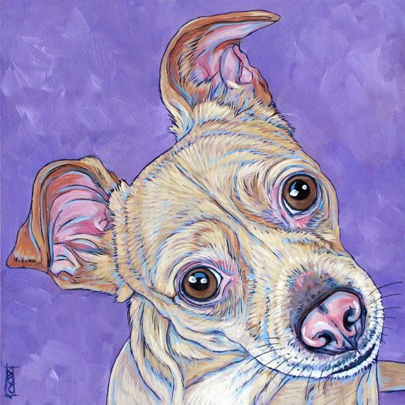 """10"""" x 10"""" Custom Pet Portrait Painting in Acrylic on Ready to Hang Canvas of One Dog, Cat, Other Animal, Pet Memorial, Modern Pet Art Gift. Chihuahua Rat Terrier Mix from Pet Portraits by Bethany on Etsy"""