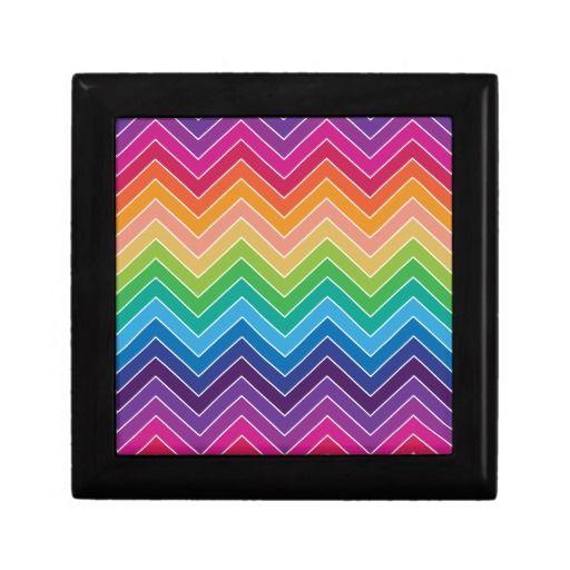 Rainbow Chevron Pattern Modern gifts Keepsake Boxes