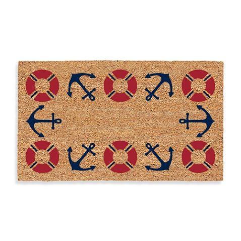 Nautical Door Mat With Life Preserver And Anchor Motif. Bed Bath U0026 Beyond.