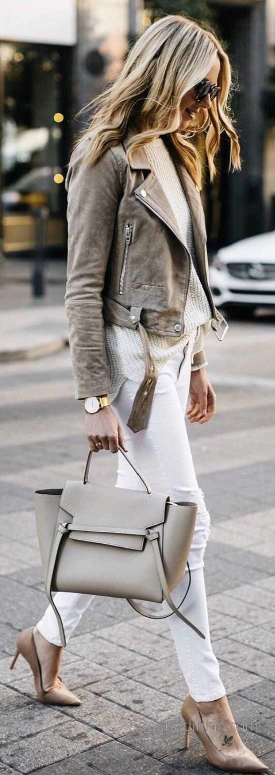 2018-2019 Sonbahar Kış Kombinleri Beyaz Kot Pantolon Ve Kahverengi Ceket