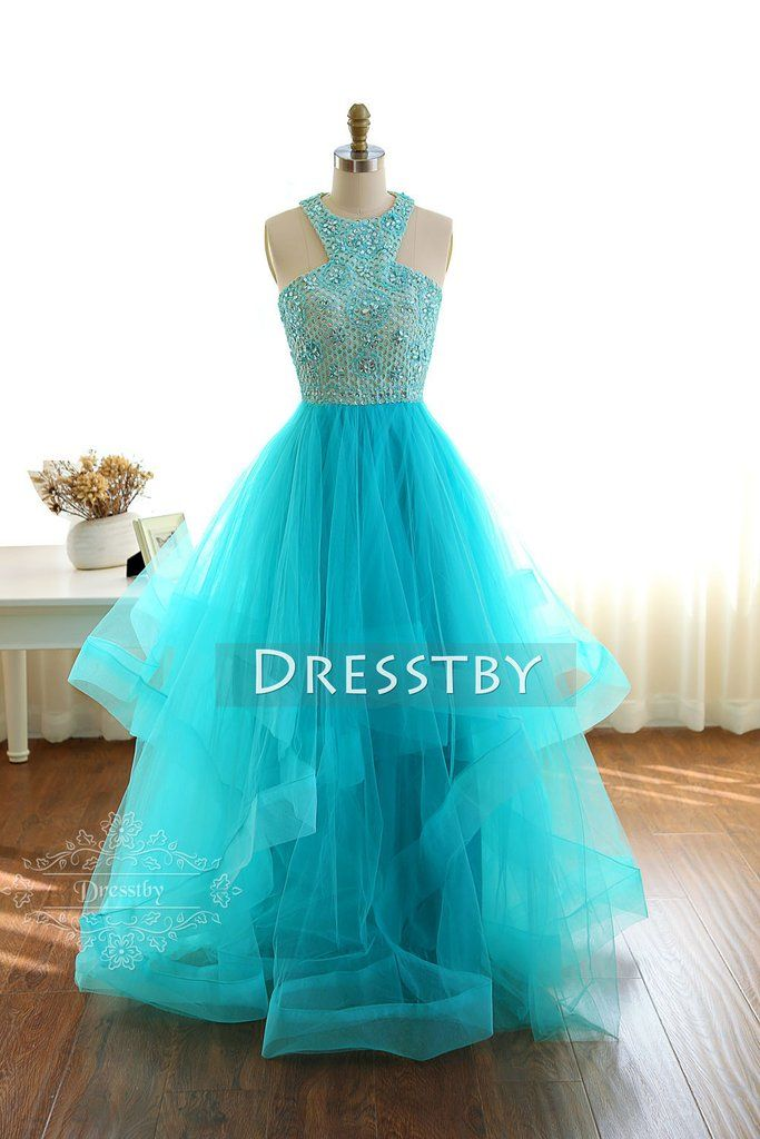 Blue round neck tulle long prom dress f96335c0a