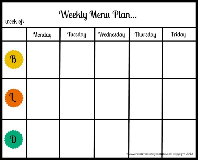Meal Planning Printables And Tips  Menu For The Week Template