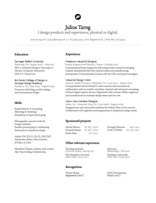 julius tarng industrialinteraction designer - Industrial Design Engineer Sample Resume