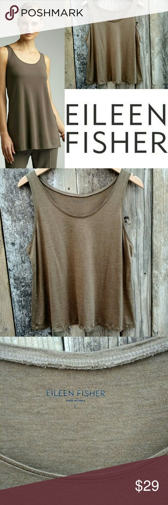 Eileen Fisher Silk Knit Shimmer Tank Beautiful, floating, lightweight chestnut colored tank with a light shimmery quality. Size Large. 70% Silk. 30% Cotton. Chestnut is a warm brown that is very flattering on all skin tones. Excellent condition. Fabric tag missing so marked to sell price. Eileen Fisher Tops Tank Tops