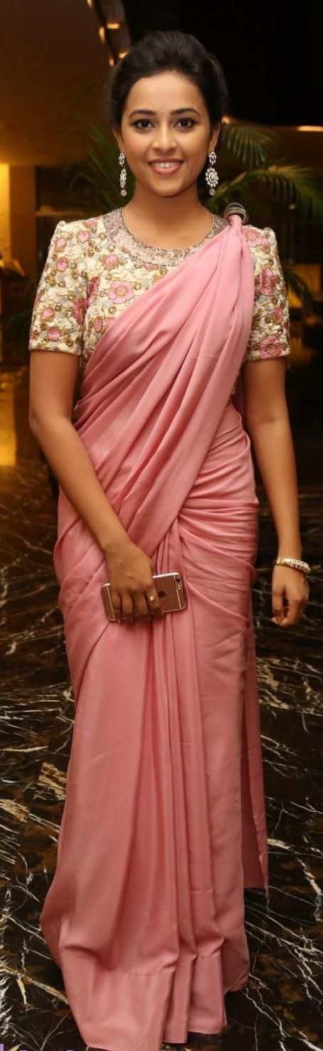 Simple elegant and stunning Blush pink saree - Sri divya