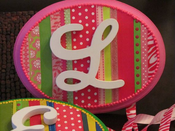 Pinks and Greens Customized Ribbon Barrette Holder by StarrParnell, $30.00