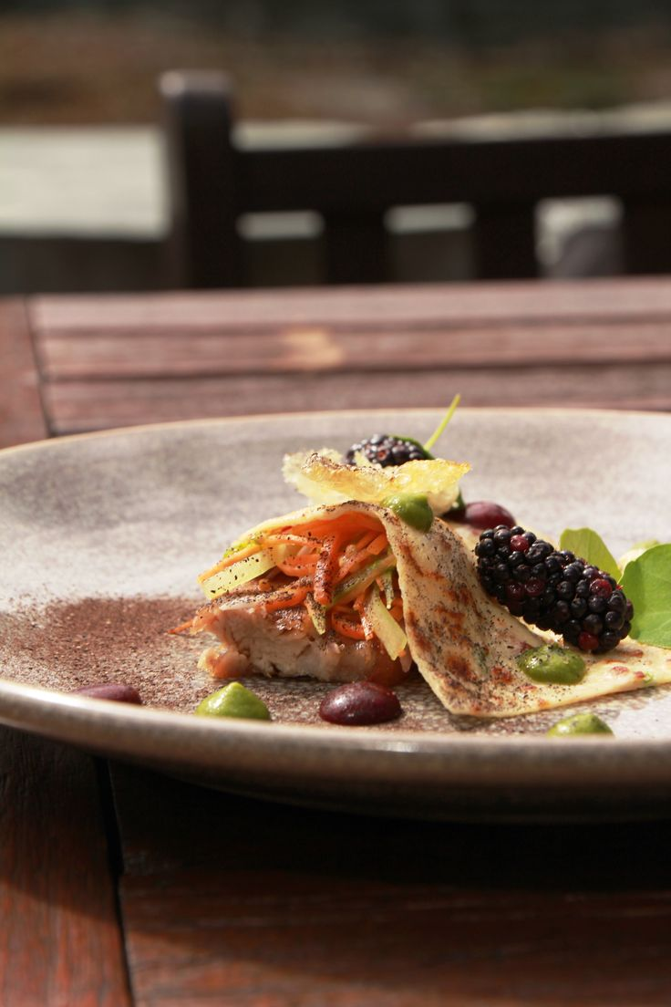 Dish of the week: Come to The Millhouse Restaurant this weekend and try our exquisite dish, Pork belly, kimchi, blackberries gel, pork pancake with spring salad and new season blackberries.