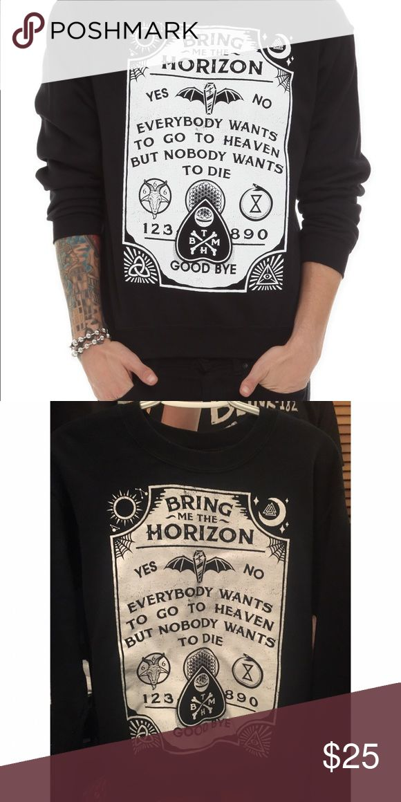 Bring Me The Horizon Sweatshirt Hot Topic Lyrics Bmth lyrics in a ouija board style. Really warm and cozy. Worn often but still in good condition. The print is white, my camera makes it look dark. It's really cute, just doesn't fit me anymore. Offers welcome Tags: emo scene punk goth gothic creepy oli Oliver Sykes bring me the horizon winter sweater pullover kawaii dark tumblr scary ghost Hot Topic Sweaters Crewneck