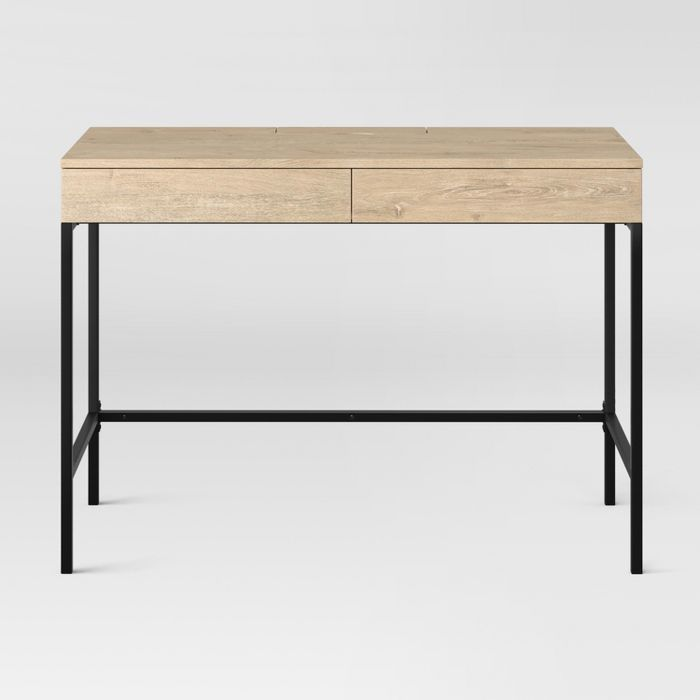 Loring Wood Writing Desk With Drawers Vintage Oak Project 62 In 2020 Writing Desk With Drawers Wood Writing Desk Desks For Small Spaces