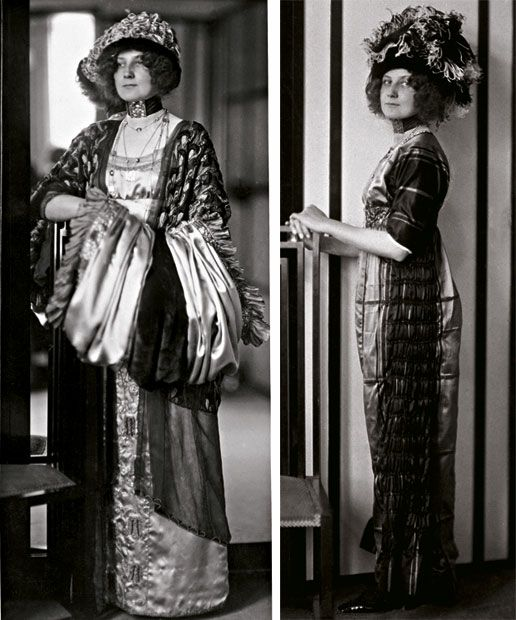 Left: Emilie Flöge in an art noveau dress with muffs in the fashion Salon Sisters Flöge. She is leaning on a chair constructed by Kolo Moser. Right: Emilie Flöge in an Art Nouveau Style Dress c. 1910Art Nouveau, Painting Design, Fashion Design, Emily Floge, Emily Flöge, Chairs Construction, Gustav Klimt, Fashion Salons, Art Noveau