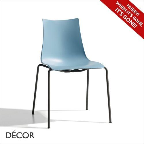 Zebra technopolymer chair coated body, gentle blue stackable minimal order amount: 4