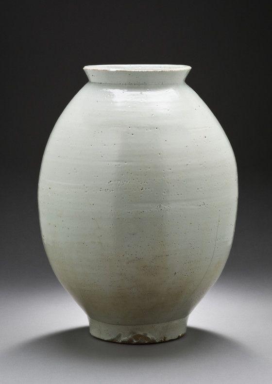 Jar | LACMA Collections. Korea, Joseon dynasty (1392-1910), 18th century, Wheel-thrown porcelain with clear glaze