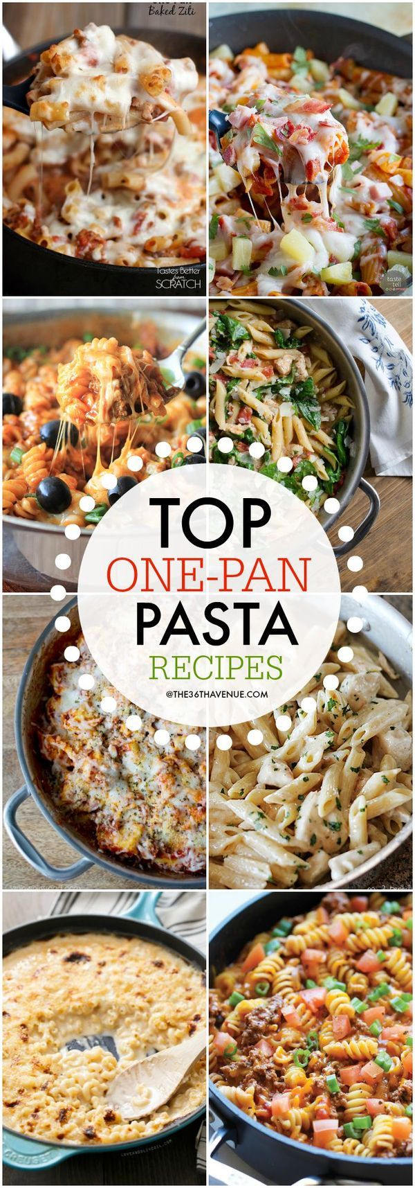 "One Pan Pasta Recipes!  A great way to create a family balanced dinner that everyone will want to eat! If we call it ""pasta"" my kids will eat it!"