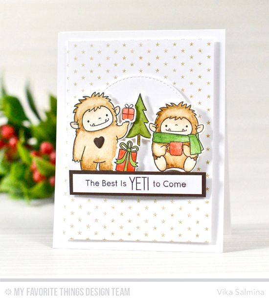 Beast Friends Stamp Set and Die-namics, Merry Everything Stamp Set and Die-namics, Tiny Stars Background, Stitched Circle STAX Die-namics - Vika Salmina  #mftstamps
