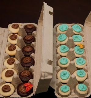 use egg cartons to hold mini cupcakes
