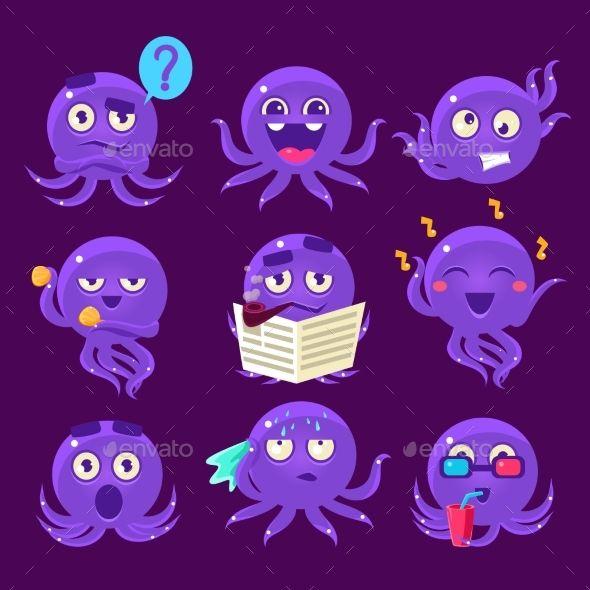 Blue Octopus Emoji Vector Set