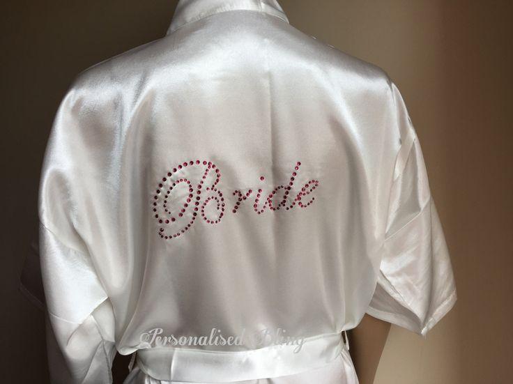 Personalised Satin Bridesmaid Robe , satin robe bride robe wedding robe spa robe honeymoon robe wifey robe moring robe rhinestone robe by personaliseddiamante on Etsy