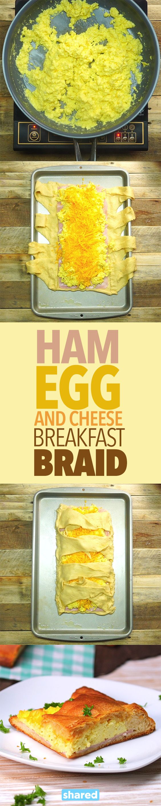 Ham, Egg and Cheese Breakfast Braid