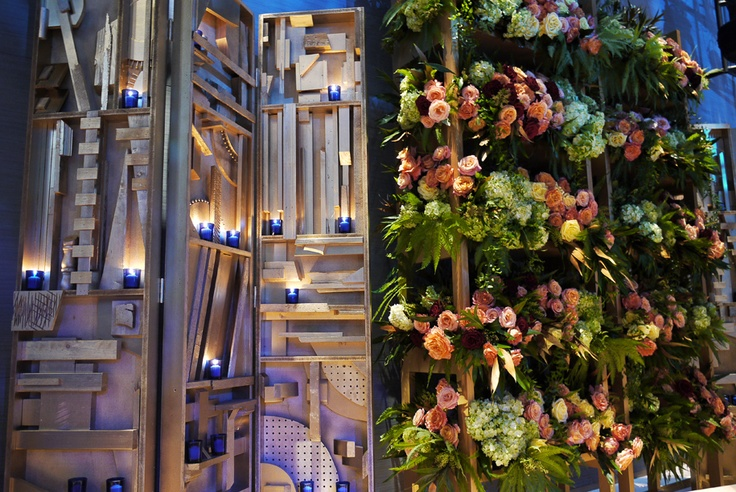 Live floral walls for an engagement party at Jazz at Lincoln Center, New York.  Photo by John Simoudis  © Copyright Jerry Rose Floral + Event Design