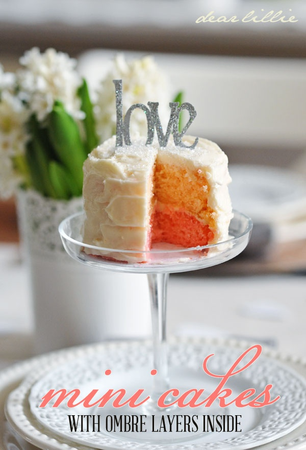 Mini Ombre Cake Tutorial & with Love Template~ great idea to surprise someone for their birthday, anniversary, thank you, congratulations, etc.