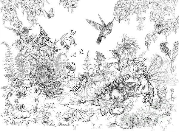 fantasy art drawing inktober dragon ink bird hummingbird flower fairy house butterfly snail mushroom