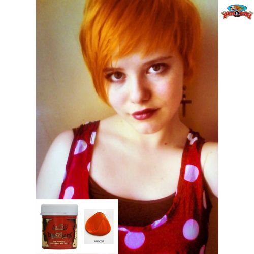 Such a bright and happy color! Check out this Apricot Hair Colour by #Directions at ruffnready.com.au #rockabilly #RuffnReadyaus #hairprod #hairdye #haircolor #hair #apricot