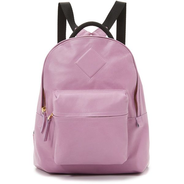AANDD Petite Backpack ($530) ❤ liked on Polyvore featuring bags, backpacks, lilac, purple leather bag, zip top bag, multi colored backpacks, multi color backpack and real leather backpack