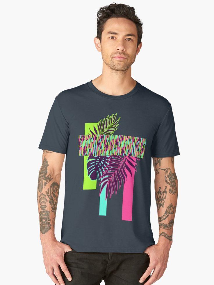 Men's Premium T-Shirt  Neon Exotic #redbubble #tropical by designdn    Composición abstracta con hojas tropicales, geometrías y colores de neón vivos y brillantes. • Also buy this artwork on apparel, stickers, phone cases y more.