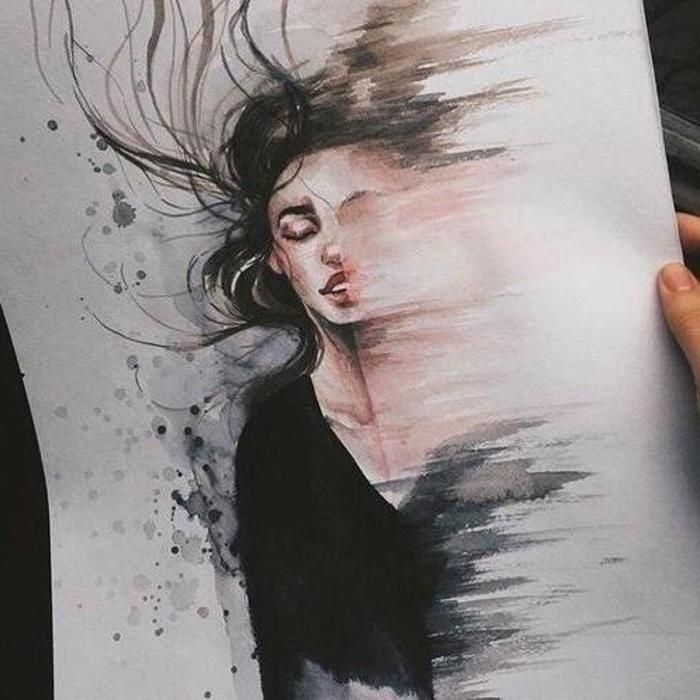 Woman Melting Away Black Hair Blouse Watercolour Painting Cute Drawing Ideas Illustration Art Drawing Cool Drawings Draw On Photos