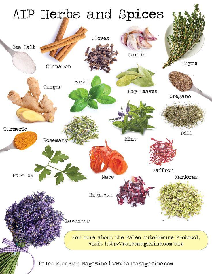 AIP Herbs and Spices Infographic #aip #paleo #autoimmune http://paleomagazine.com/autoimmune-paleo-aip-pantry-list