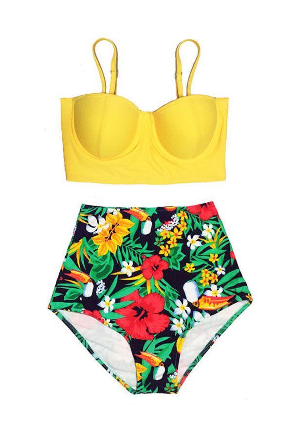 Yellow Midkini Top and Flora Flower Flowers High Waisted Waist Bottom Women Womens Swimsuit Bikini Swimwear Bathing suit suits wear S M L XL by venderstore on Etsy