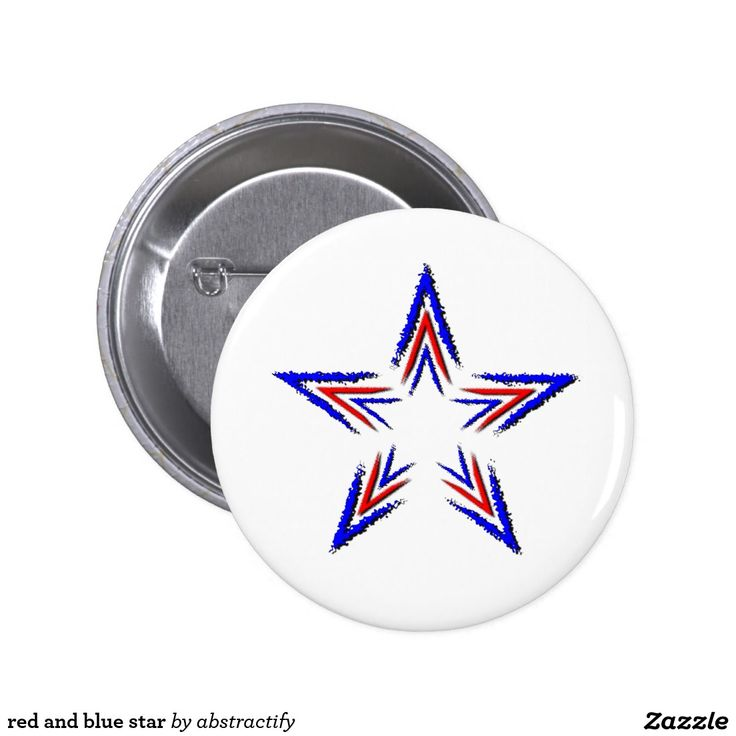 red and blue star pinback button