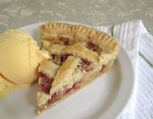 Rhubarb Custard Pie ~ My 60+ year old recipe has 4 cups rhubarb, 1.5 cups sugar and 1/4 cups flour and I do not put in nutmeg.  I use a shortening based double crust.  My grandma and mom were known for their great pies.