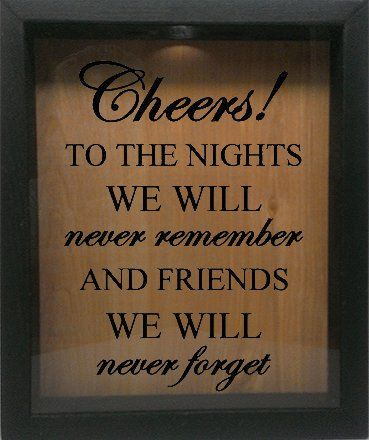 "Wooden Shadow Box Wine Cork/Bottle Cap Holder 9""x11"" - Cheers To The Nights We Will Never Remember (Ebony)"