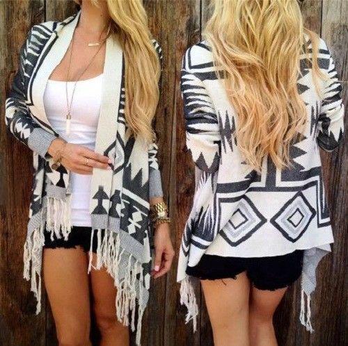 Autumn Winter Women Tribal Print Cardigan Long Sleeve Tassel Cotton Poncho Knitt #Unbranded #Cardigan #Work