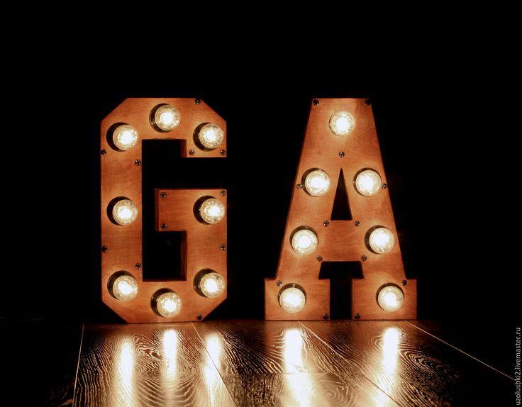 Купить Деревянные буквы с лампочками - буква, деревянная буква, буква с лампами, светящаяся буква, светильник
