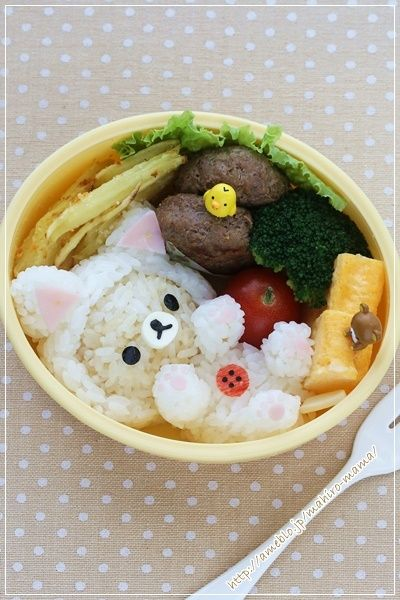 korilakkuma bento I wouldn't be able to eat eat this...naw. I'm lying. I'd decapitate it and probably eat the nose first. But I'd avoid the duck and what looks like it's poo.