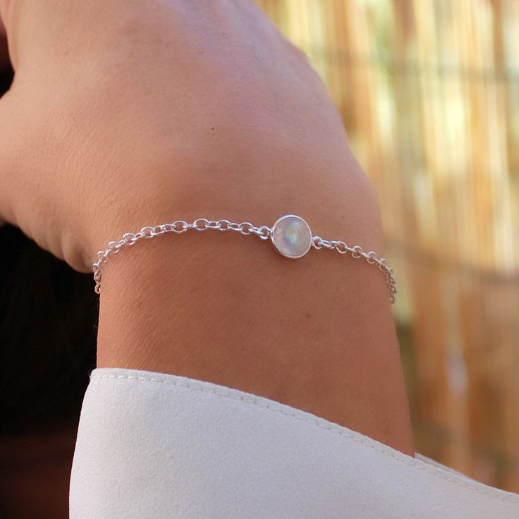Bracelet pierre de lune sur chaÎne argent massif Bijou boho chic Bracelet minimaliste : Bracelet par freesize-bijoux