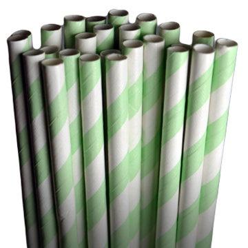 Stripe Mint Party Paper Straws - Cake Pop Sticks - Pixie Sticks - Qty 25. $3.75, via Etsy.