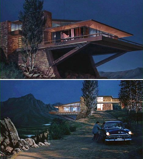 North by Northwest -  Vandamm house - built in Culver City on the MGM studio lot. Using a Frank Lloyd Wright like design (because his fee was way too large) with the outdoor scenes using special effects. The cantilever beams were not a Wright design but aided in the plot when Cary Grant used them to enter the house.