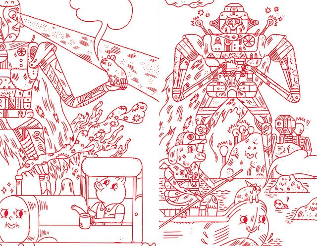 """dbdrawings: """" robot fun on Flickr. Via Flickr: just so you know JB original drawings can be affordable gifts - a friend asked me to draw some fun characters as gifts for his nephews who were page boys/ushers at his wedding. #Jon Boam """""""